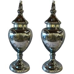 Hollywood Regency Style Decorative Mercury Glass Silver Etched Lidded Urn, Pair