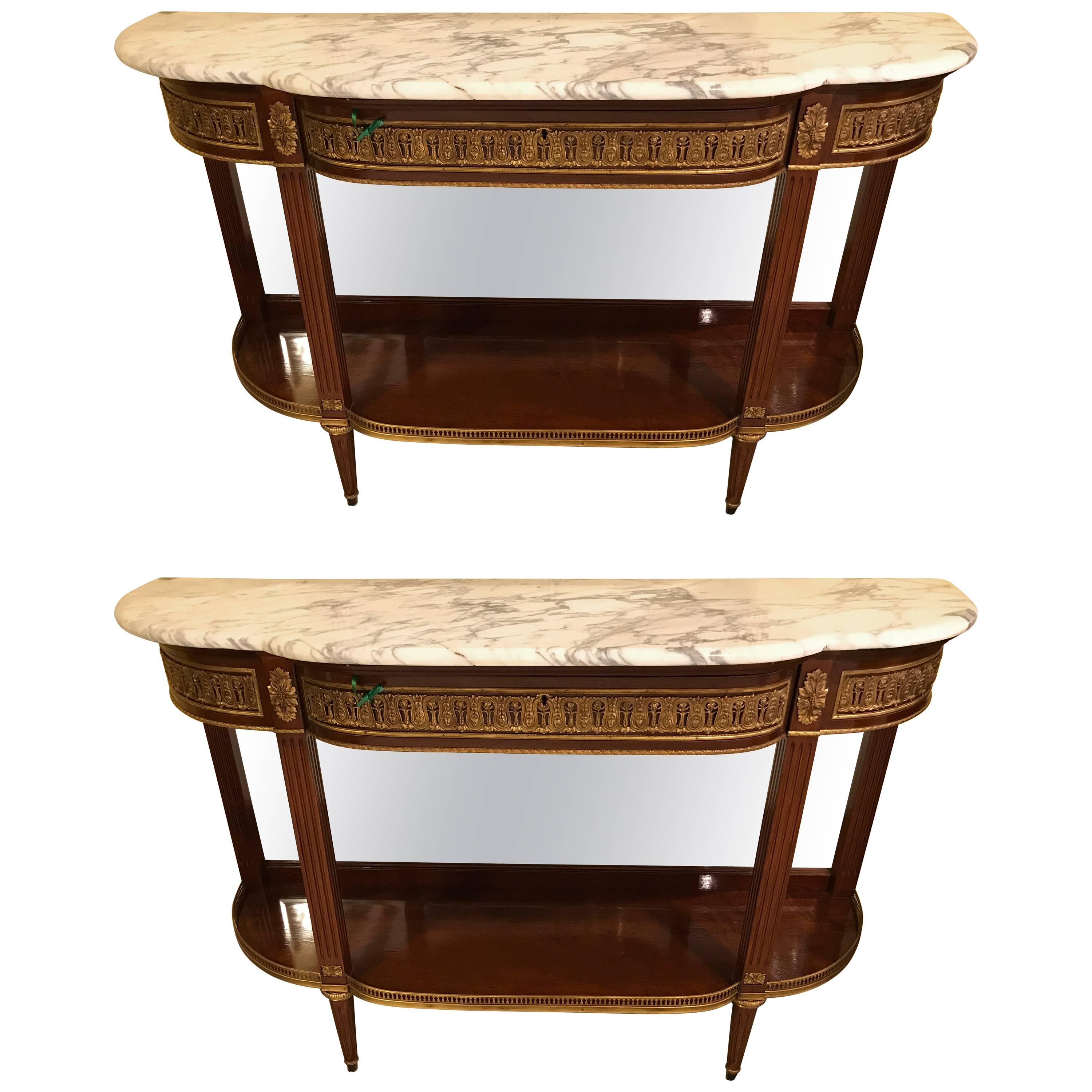 Pair of Jansen Style Marble-Top Bronze Mounted Consoles