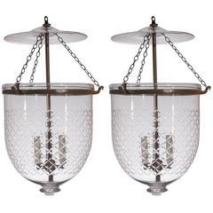 Pair of Large 19th Century Bell Jar Lanterns with Diamond Etching