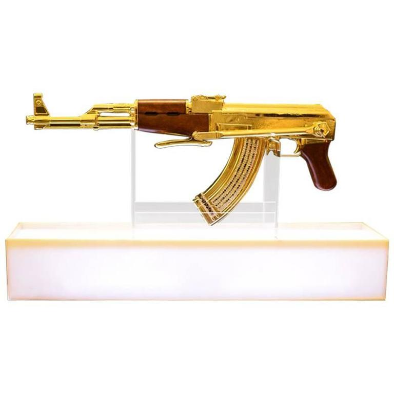 Ak-47 Gold Numbered and Limited Edition Art Sculpture Demilitarized For Sale