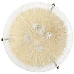 Large Textured Glass Brass Flush Mount ceiling light by Hillebrand, circa 1960