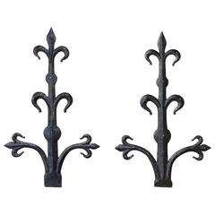 Pair of 18th Century Wrought Iron Fleur De Lys Architectural Wall Decorations