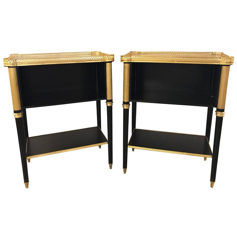 Fine Pair of Jansen Louis XVI Style Ebonized Marble-Top End Tables