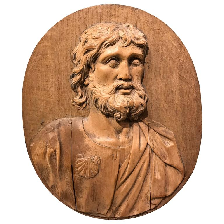 17th Century Carved Relief of Saint James, Lifesize For Sale