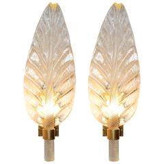 Leaves Wall Light Set of Two in Pure Murano Crystal Glass