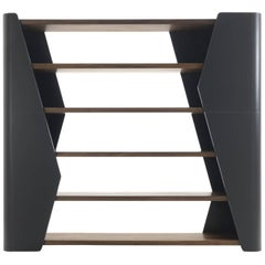 Racing Bookshelves with Solid Walnut Wood and Genuine Leather
