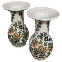 Pair of 19th Century Boch Hand-Painted Porcelain Vases