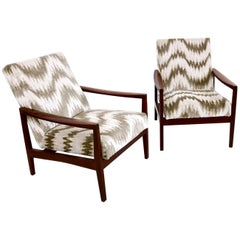 Pair of Beautiful Wood and Patterned Fabric Armchairs, Italy 1950s