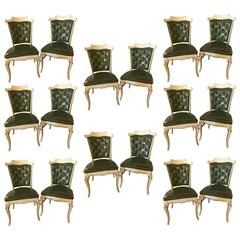 Set of 16 Maison Jansen Style Side Chairs with Button Tuffted Backs
