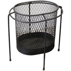Sculptural Iron and Wire Waste Basket, France, Style of Mategot, 1950s