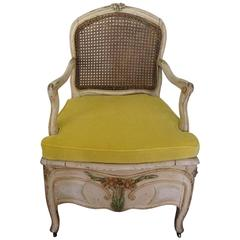 Louis XV Style Painted Commode Chair or Bergere, French, circa 1800