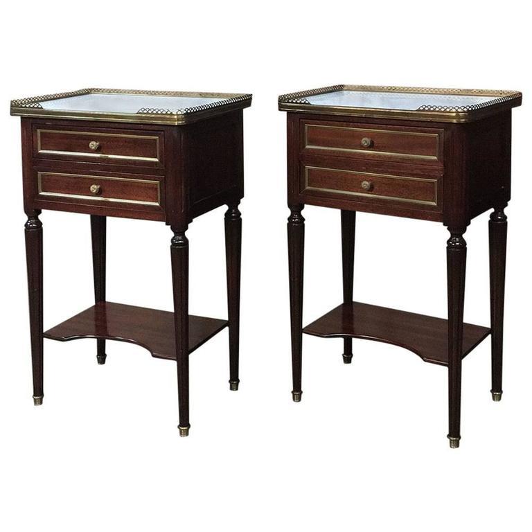 pair of french maison jansen louis xvi style marble-top nightstands Marble Top Nightstand