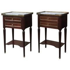 Pair of French Maison Jansen Louis XVI Style Marble-Top Nightstands/End Tables
