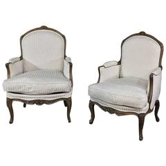 Pair of 19th Century French Walnut Regence Bergeres, Armchairs