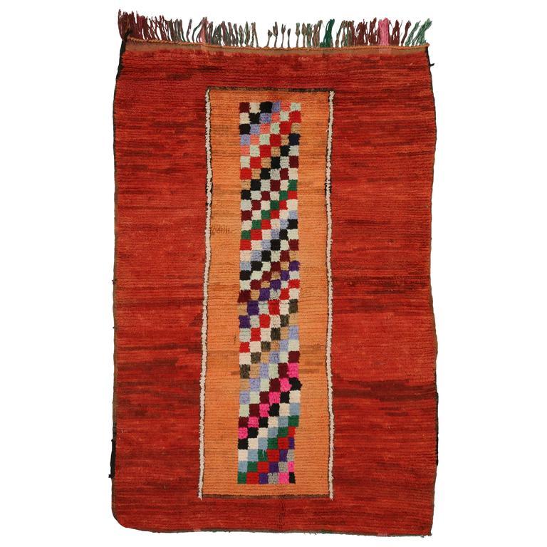 Mid-Century Modern Vintage Berber Moroccan Rug With