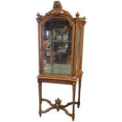 Superb and Rare Ornate Giltwood Louis XVI Vitrine Showcase Cabinet