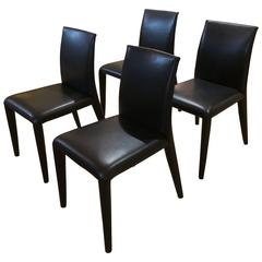 Set of Four Sexy B & B Italia Black Leather Dining Side Chairs