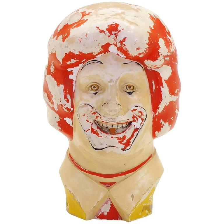 Large Weird, Creepy, Perfectly Patinated Plastic Clown Head For Sale