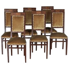 Set of Six Italian Art Deco Mahogany Chairs