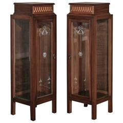 Pair of Italian Art Deco Marquetry Vitrine or Cabinets