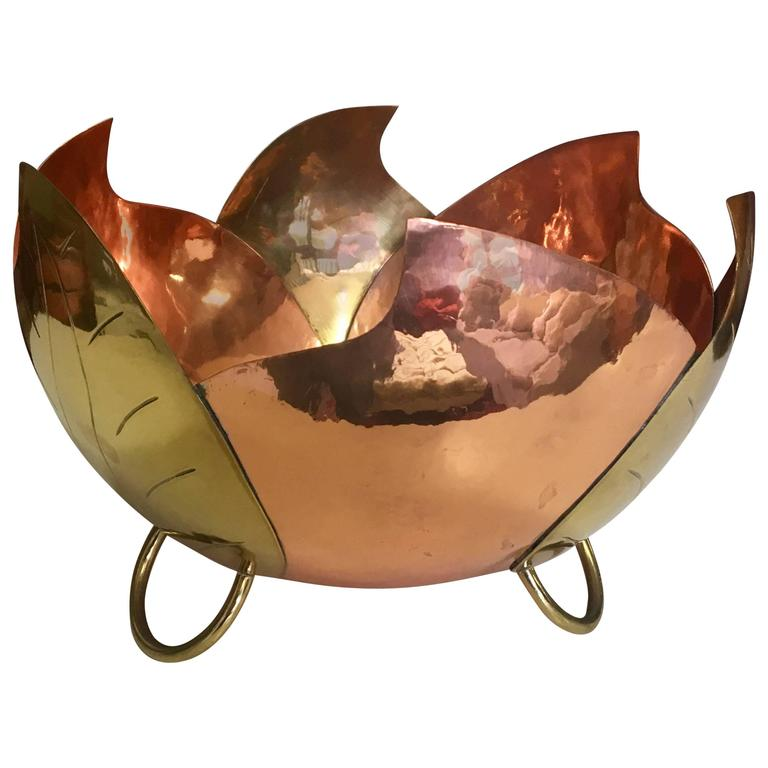 Vintage Mixed Metals Centrepiece or Fruit Bowl in Brass and Copper from Mexico