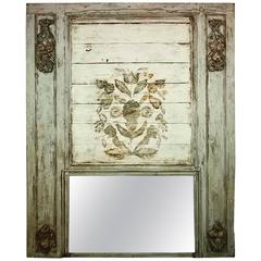 19th Century Painted French Trumeau Mirror with Fruit Swags and Painted Florals