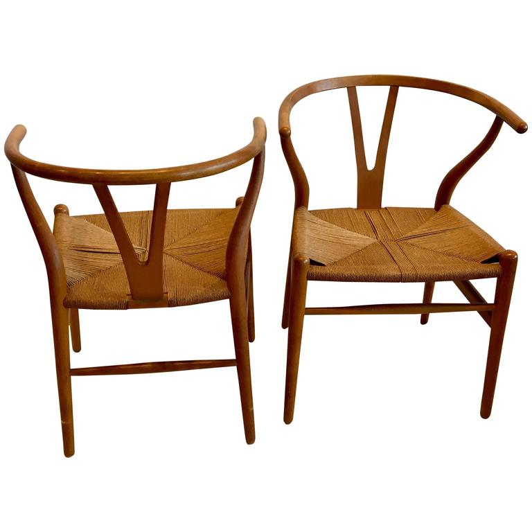 Pair of Danish Modern Hans Wegner Wishbone Chairs by Carl Hansen & Son