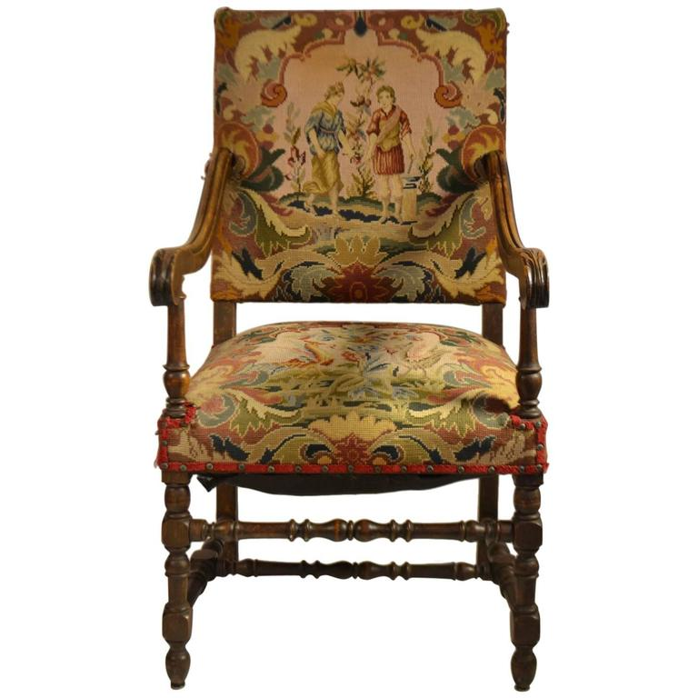 Louis XIII Style Fruitwood Fauteuil For Sale at 1stdibs