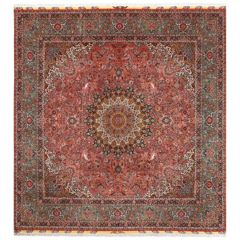 Square Animal Motif Vintage Tabriz Persian Rug