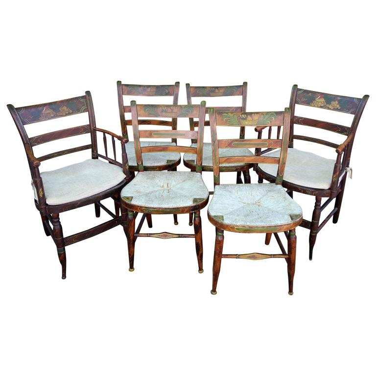 Six Paint Decorated Rush Seat Dining Chairs At 1stdibs