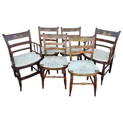 Six Paint Decorated Rush Seat Dining Chairs