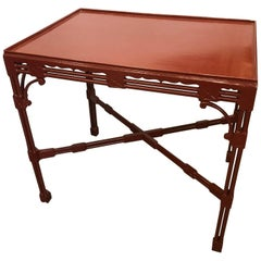 Chinese Chippendale Tea Table in Cinnabar Red