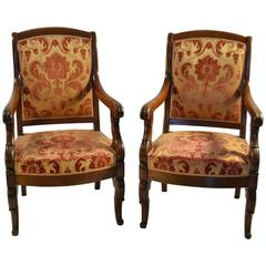 Pair of Louis-Phillippe Mahogany Fauteuils
