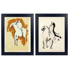 Pair of Marino Marini Horse and Rider Lithographs