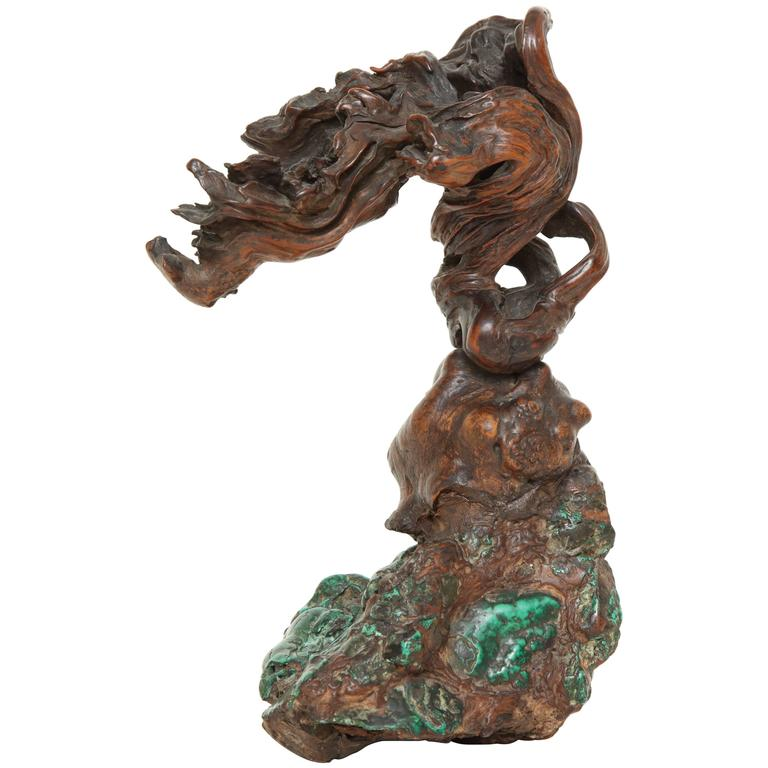 19th Century Chinese Malachite and Rootwood Scholar's Object 1
