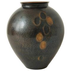 Japanese Art Deco Hammered Copper Vase
