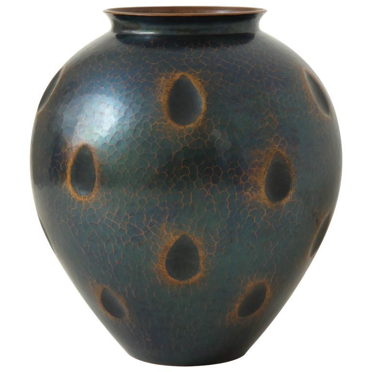 Japanese Art Deco Hammered Copper Vase 1