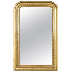 19th Century Giltwood Louis Philippe Mirror Medium Scaled Original Mercury Glass
