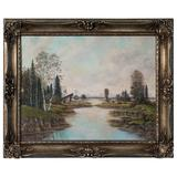 Early 20th Century Vintage Signed German Landscape Oil Painting