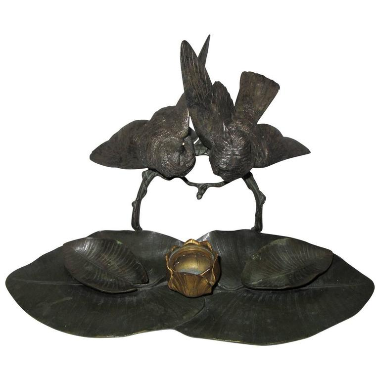 Rare Charles Cumberworth Signed Bronze Inkwell For Sale