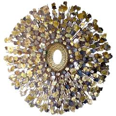Glittering Mixed Metal Wall Sculpture Attributed to William Friedle, circa 1960