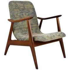1950s Dutch Mid-Century Modern Teak Lounge Chair by Louis van Teeffelen
