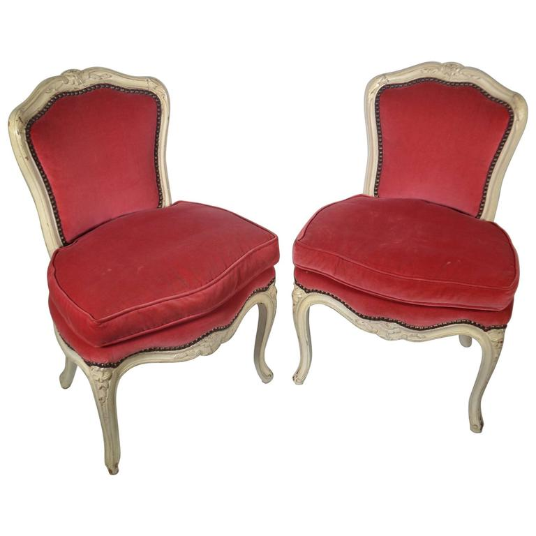 Pair of Louis XV-Style Carved Chairs