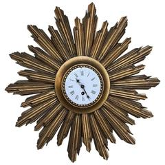 Mid-Century Carved Wood French Gilt Wood Sunburst Wall Clock