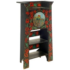 American Antique Hand-Painted Love Birds and Red Poppies Desk, Master Work, 1910