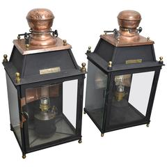 19th Century French Copper and Black Metal Lanterns