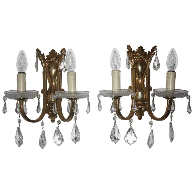 Pair Of Wall Sconces Solid Brass And Swarovski Crystal Circa 1970s