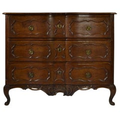French Provincial Carved Oak Commode