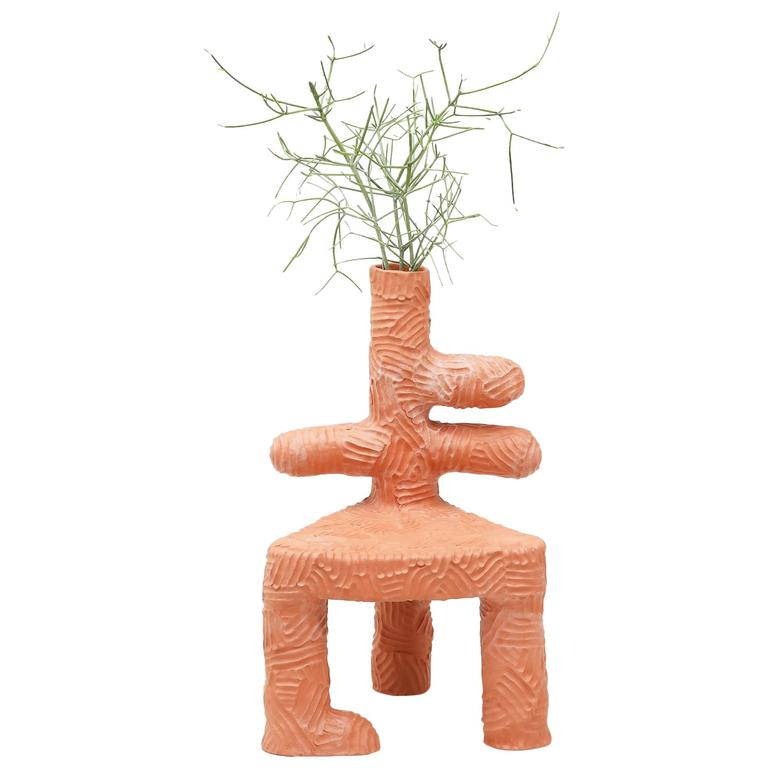 Chris Wolston Terracotta Plant Chair For Sale