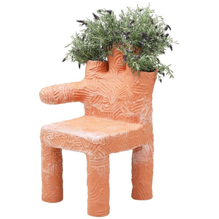 Chris Wolston Terracotta Plant Chair For Sale
